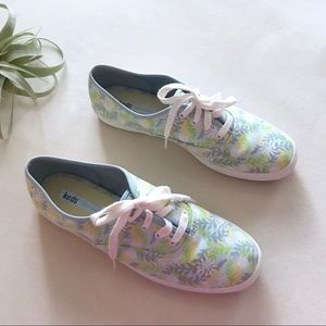 EUC KEDS blue green floral lace up sneakers 9